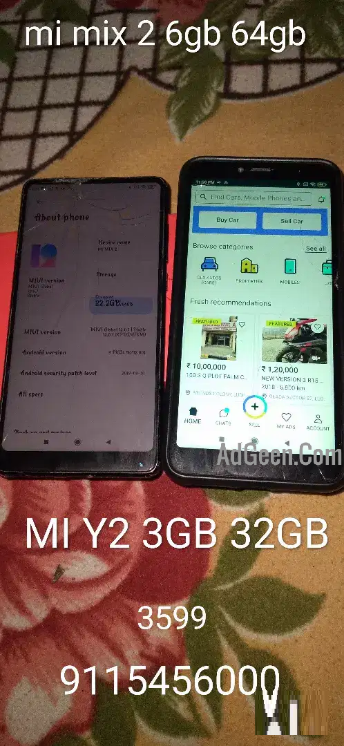 used (1) (MI Y2 MOBILE WITH BOX) (2) MI MIX 2 6GB 64GB for sale
